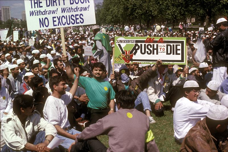 Brought to book: a protest against Salman Rushdie's Satanic Verses in Hyde Park, 1989: Rex Features