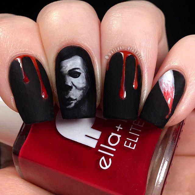 """<p>The only thing better than Halloween nails? <em>Halloween</em> nails. Michael Meyers is the star of this artsy manicure.</p><p><a href=""""https://www.instagram.com/p/B4S9OrvJoPR/&hidecaption=true"""" rel=""""nofollow noopener"""" target=""""_blank"""" data-ylk=""""slk:See the original post on Instagram"""" class=""""link rapid-noclick-resp"""">See the original post on Instagram</a></p>"""