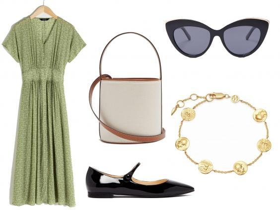 & Other Stories floral print dress: £85, Staud bisset canvas and leather bucket bag: £240, Prada Mary-Jane ballerinas: £550, Le Specs beautiful Stranger cat-eye sunglasses: £55, Missoma Lucy Williams coin bracelet: £95