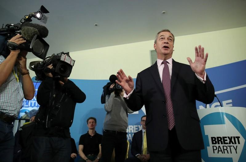 Leader of the Brexit Party Nigel Farage speaks during a general election campaign event in Peterborough
