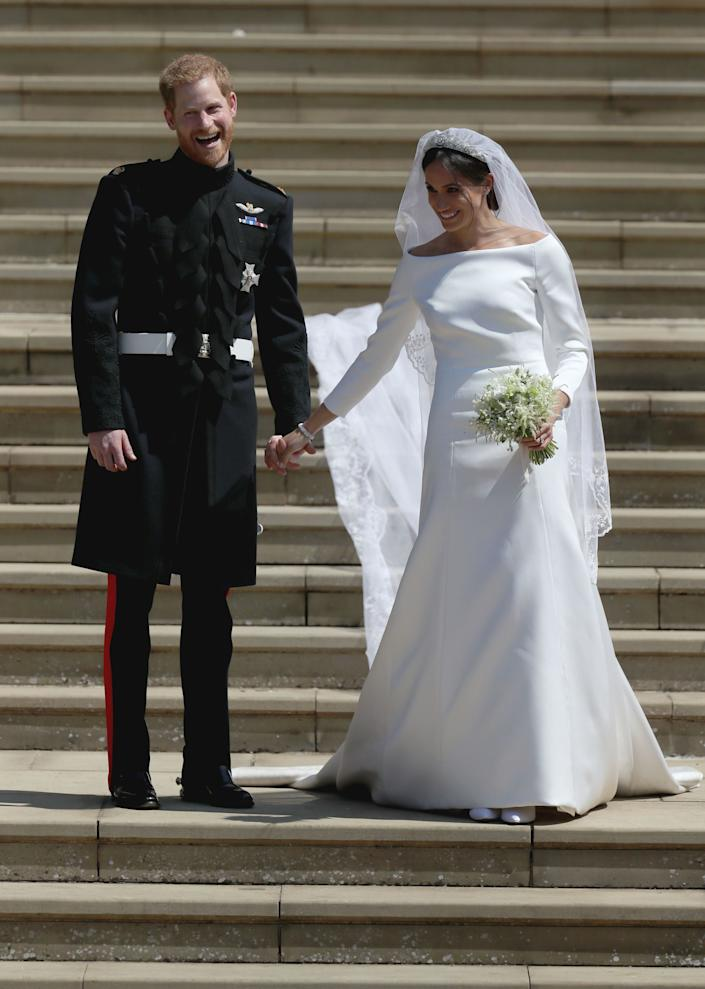 The Duchess of Sussex's wedding dress was rumoured to have cost approximately £387,000  [Photo: Getty]