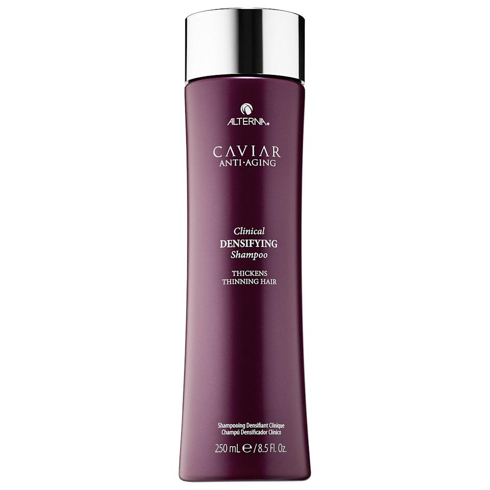 <p>Not only does the top-rated <span>Alterna Haircare Caviar Anti-Aging Clinical Densifying Shampoo</span> ($34) cleanse, it helps block DHT which often leads to hair loss. This shampoo also features a red clover complex to thicken, and adds in ingredients to slow natural, chemical, and environmental aging, too.</p>