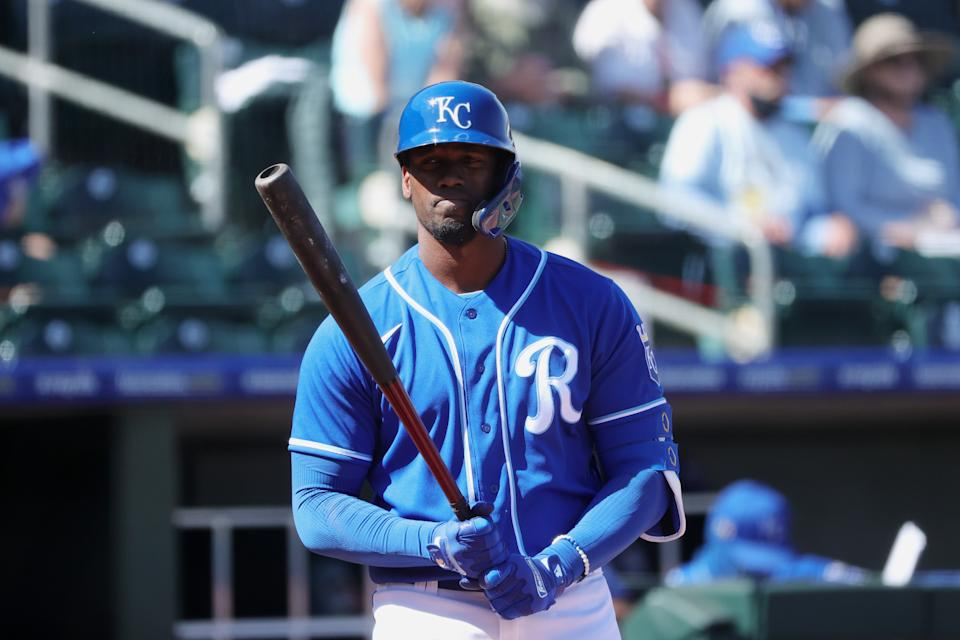 SURPRISE, ARIZONA - MARCH 03: Jorge Soler #12 of the Kansas City Royals in action against the Chicago White Sox during a preseason game at Surprise Stadium on March 03, 2021 in Surprise, Arizona. (Photo by Carmen Mandato/Getty Images)
