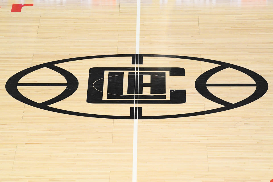The Los Angeles Clippers logo at the Staples Center