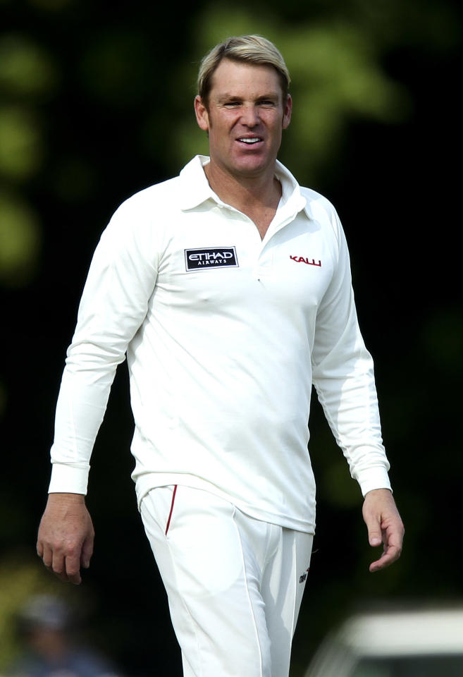 CIRENCESTER, ENGLAND - JUNE 09: Shane Warne looks on during Shane Warne's Australia vs Michael Vaughan's England T20 match at Cirencester Cricket Club on June 09, 2013 in Cirencester, England. (Photo by Ben Hoskins/Getty Images)