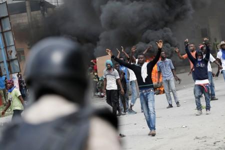 Protesters participate in a demonstration to demand the resignation of Haitian president Jovenel Moise, in Port-au-Prince