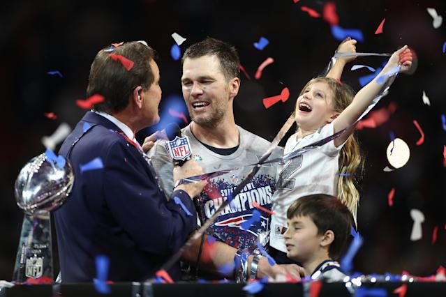 <p>Tom Brady #12 of the New England Patriots, his daughter Vivian Lake Brady and his son Benjamin celebrate the Patriots' 13-3 win over the Los Angeles Rams during Super Bowl LIII at Mercedes-Benz Stadium on February 3, 2019 in Atlanta, Georgia. (Photo by Jamie Squire/Getty Images) </p>
