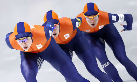 Speed Skating - Pyeongchang 2018 Winter Olympics - Women's Team Pursuit Competition - Gangneung Oval - Gangneung, South Korea - February 19, 2018. Marrit Leenstra, Ireen Wust and Antoinette De Jong of the Netherlands in action. REUTERS/Damir Sagolj