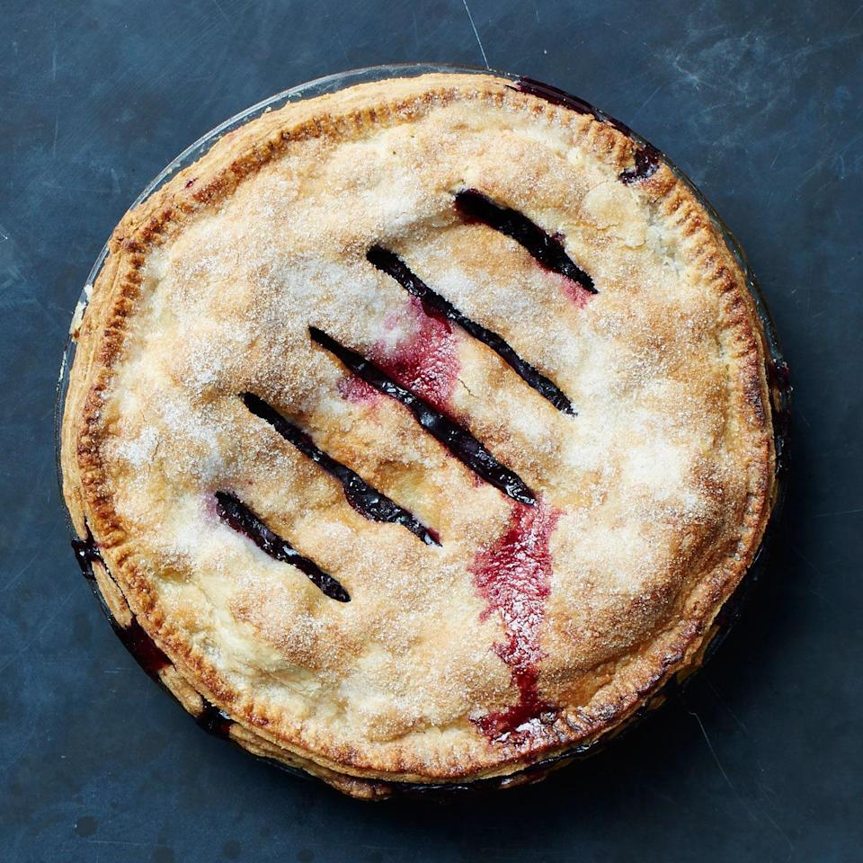 The filling for this blueberry pie with ginger will be loose when it comes out of the oven, but as long as you let it rest for the full 4 hours, it will firm beautifully.