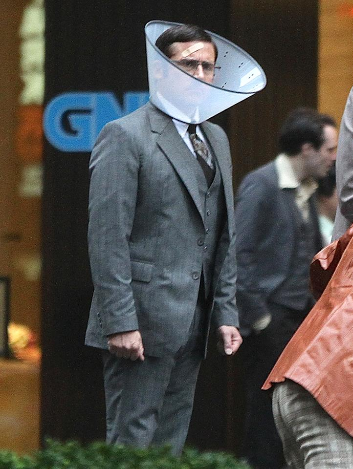 'Anchorman 2' cast wear bandages on set in NYC. Pictured: Cast Of Anchorman 2 Ref: SPL513128  190513  Picture by: Andrea Mascaro / Splash News   Splash News and Pictures Los Angeles:310-821-2666 New York:212-619-2666 London:870-934-2666 photodesk@splashnews.com
