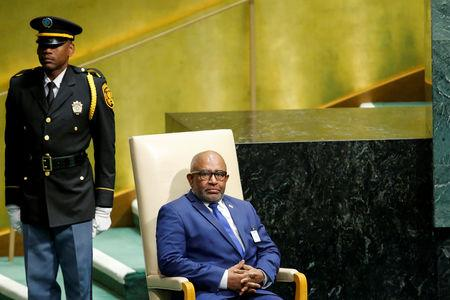 FILE PHOTO: Comoros President Azali Assoumani sits in the chair reserved for heads of state before delivering his address during the 73rd session of the United Nations General Assembly at U.N. headquarters in New York, U.S., September 27, 2018. REUTERS/Eduardo Munoz/File Photo