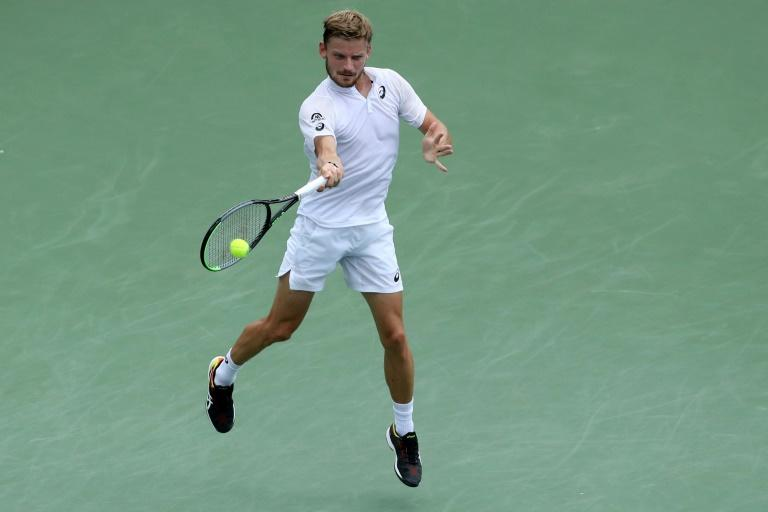 Belgium's David Goffin on the way to a straight-sets victory over France's Richard Gasquet in the semi-finals of the ATP Cincinnati Masters