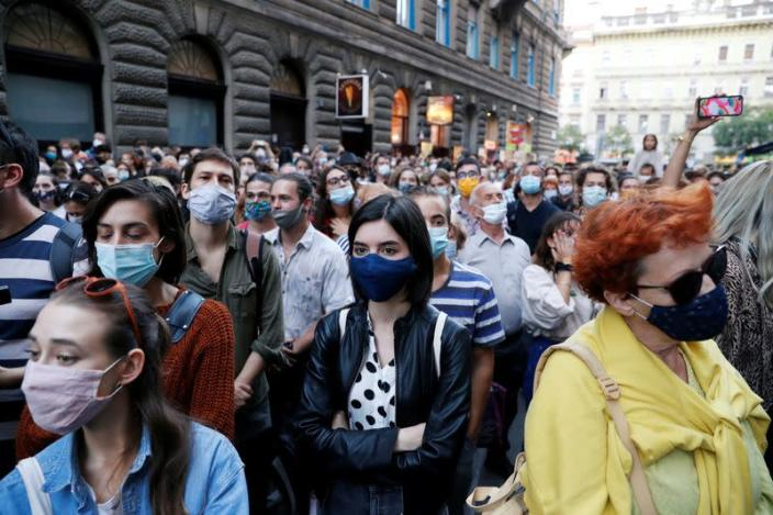 People attend a protest in support of the students of the University of Theatre and Film Arts during their blockade in Budapest