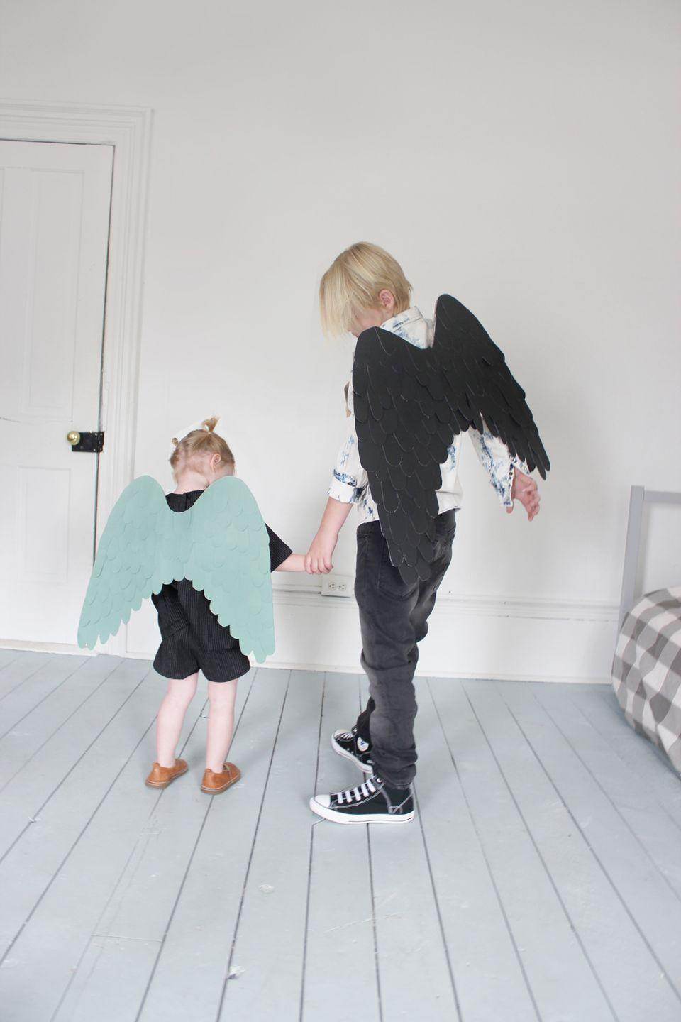 """<p>The most essential accessory for any angel costume is the wings — but that doesn't mean you need to go out and buy a pair. Instead, try this simple tutorial that uses cardboard, paper stock, and hot glue for an easy DIY option. </p><p><em><a href=""""http://mermagblog.com/cardboard-paper-wings-a-back-to-school-dinner/"""" rel=""""nofollow noopener"""" target=""""_blank"""" data-ylk=""""slk:Get the tutorial at Mer Mag Blog »"""" class=""""link rapid-noclick-resp"""">Get the tutorial at Mer Mag Blog »</a></em><strong><br></strong></p><p><strong><strong>RELATED: </strong></strong><a href=""""https://www.goodhousekeeping.com/holidays/halloween-ideas/g1709/homemade-halloween-costumes/"""" rel=""""nofollow noopener"""" target=""""_blank"""" data-ylk=""""slk:56 Easy Homemade Halloween Costumes for Kids and Adults"""" class=""""link rapid-noclick-resp"""">56 Easy Homemade Halloween Costumes for Kids and Adults</a> </p>"""