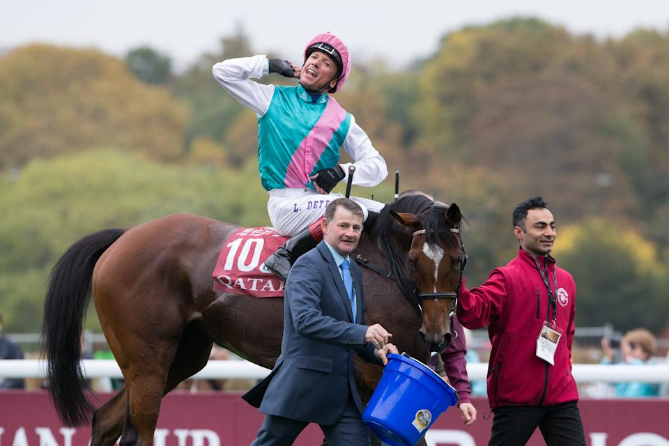 Frankie Dettori riding Enable wins the 97th Qatar Prix de l'Arc de Triomphe at Paris Longchamp in 2018 - their second win in Europe's richest race
