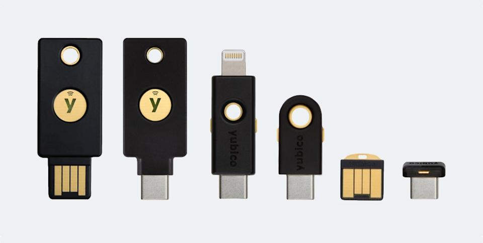 USB authenticator keys like these by Yubico can help provide an extra layer of security beyond passwords. (Image: Yubico)