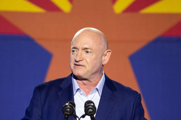 Mark Kelly, who was a Democratic Senate candidate at the time, speaks to supporters during an election night event in 2020. His seat is potentially vulnerable in the next election cycle. (Photo: Courtney Pedroza via Getty Images)