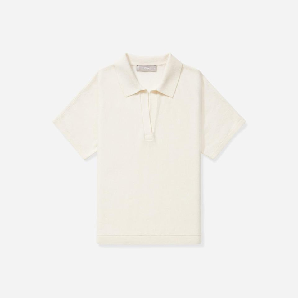"""<p><strong>everlane</strong></p><p>everlane.com</p><p><strong>$68.00</strong></p><p><a href=""""https://go.redirectingat.com?id=74968X1596630&url=https%3A%2F%2Fwww.everlane.com%2Fproducts%2Fwomens-cotton-merino-polo-bone&sref=https%3A%2F%2Fwww.elle.com%2Ffashion%2Fshopping%2Fg27038%2Fbest-fall-sweaters%2F"""" rel=""""nofollow noopener"""" target=""""_blank"""" data-ylk=""""slk:Shop Now"""" class=""""link rapid-noclick-resp"""">Shop Now</a></p><p>We constantly stock up on Everlane's basic cashmere sweaters, but this buttonless collar polo is our current favorite knit from the eco-friendly label. </p>"""