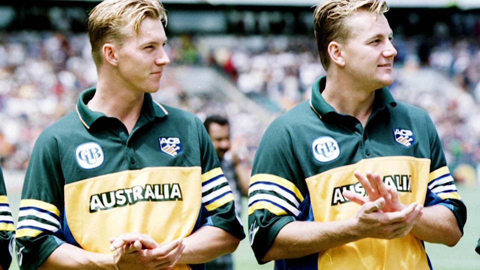 Brett and Shane Lee, pictured here before a one-day international for Australia.