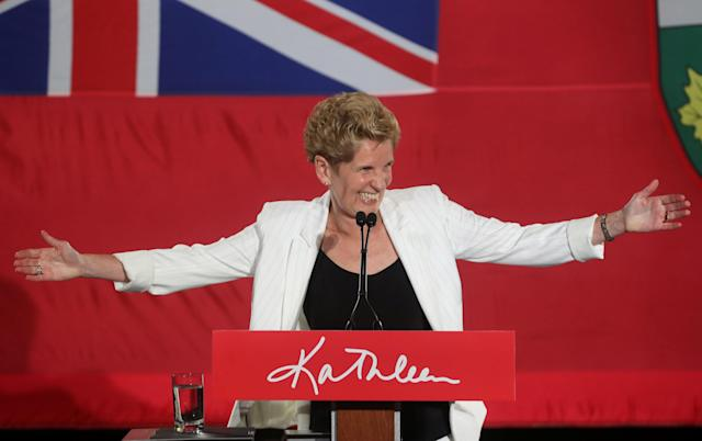 Ontario Premier Kathleen Wynne speaks to supporters after voting closed in provincial elections during her campaign event in Toronto, Ontario, Canada June 7, 2018. REUTERS/Fred Thornhill