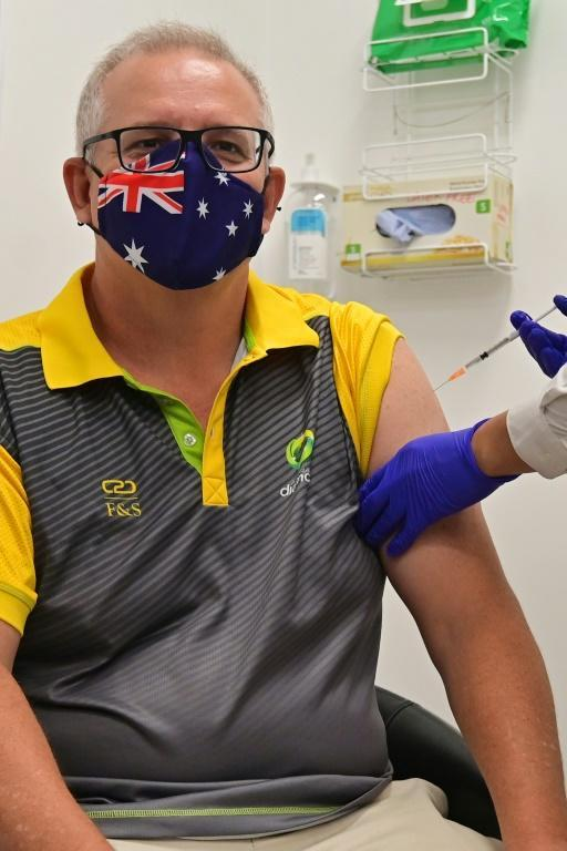 Australia's Prime Minister Scott Morrison receives a dose of the Pfizer/BioNTech Covid-19 vaccine in Sydney on February 21, 2021