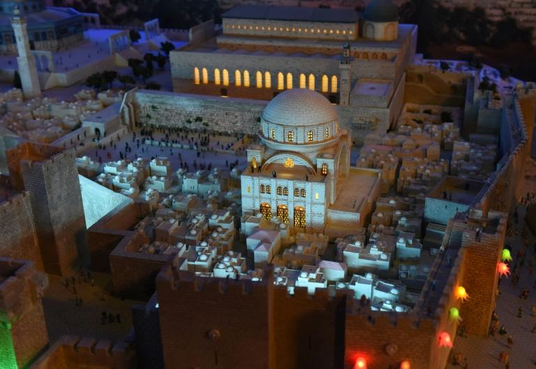A miniature model of the Old City of Jerusalem and its walls, part of Gulliver's Gate, a miniature world being recreated in a 49,000-square-foot exhibit space in Times Square, is seen during a preview April 10, 2017