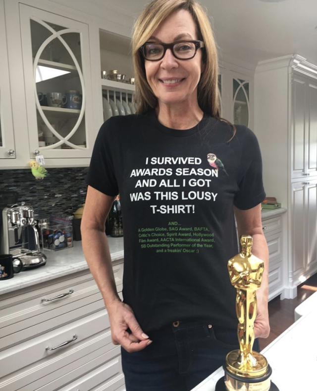 "<p>Is there a statue for Greatest T-Shirt Ever? Because if there is, the <em>I, Tony</em>a star might as well take that one home now too. ""LOVE this shirt Chelsea (from our @mom_cbs writing team)!"" Sunday's Best Actress winner captioned this shot of the black top that read, ""I survived awards season and all I got was the lousy T-shirt. And a Golden Globe, SAG Award, Bafta, Critic's Choice, Spirit Award, Hollywood Film Award, AACTA International Award, SB Outstanding Performer of the Year and a freakin' Oscar."" Yeah, that's a lot of well-deserved praise. ""It pretty much sums up the past few months,"" Janney quipped. (Photo: <a href=""https://www.instagram.com/p/Bf9hCKbhAOL/?taken-by=allisonbjanney"" rel=""nofollow noopener"" target=""_blank"" data-ylk=""slk:Allison Janney via Instagram"" class=""link rapid-noclick-resp"">Allison Janney via Instagram</a>) </p>"
