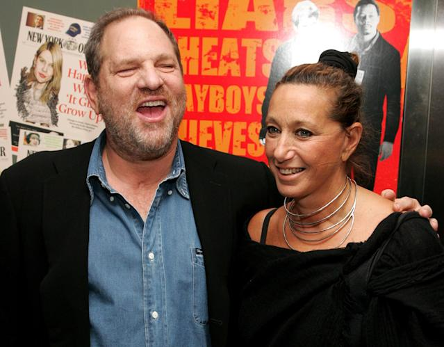 "Producer Harvey Weinstein and designer Donna Karan attend the New York premiere of ""The Hunting Party"" at the Paris Theater on Aug. 22, 2007, in New York City. (Photo by Peter Kramer/Getty Images)"