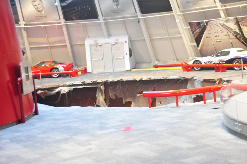 National Corvette Museum photo shows a sink hole that swallowed eight Corvettes in Bowling Green, Kentucky, in this image released to Reuters on February 12, 2014. REUTERS/National Corvette Museum/Handout via Reuters (UNITED STATES - Tags: TRANSPORT DISASTER) ATTENTION EDITORS - NO SALES. NO ARCHIVES. FOR EDITORIAL USE ONLY. NOT FOR SALE FOR MARKETING OR ADVERTISING CAMPAIGNS. THIS IMAGE HAS BEEN SUPPLIED BY A THIRD PARTY. IT IS DISTRIBUTED, EXACTLY AS RECEIVED BY REUTERS, AS A SERVICE TO CLIENTS