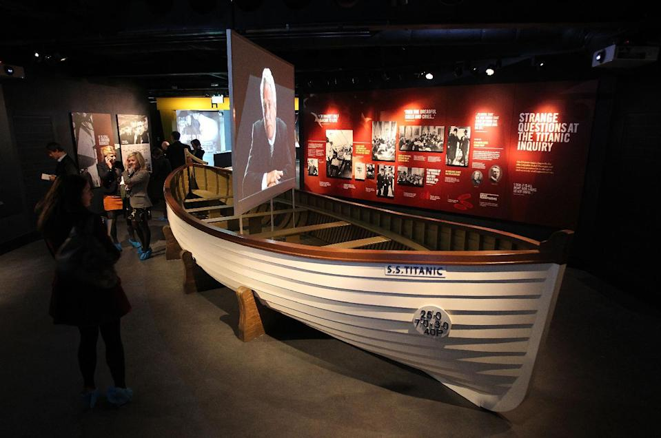 A replica Titanic lifeboat is pictured at the Titanic Belfast visitor centre in Belfast