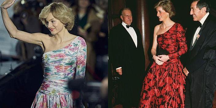 """<p>It's likely the show's wardrobe team was inspired by Princess Diana's black and red ruched taffeta evening gown for the floral one-shoulder dress seen in season 4. Both gowns feature full skirts and drop-waists.</p><p><strong>RELATED</strong>: <a href=""""https://www.goodhousekeeping.com/beauty/hair/news/g4020/princess-diana-hair/"""" rel=""""nofollow noopener"""" target=""""_blank"""" data-ylk=""""slk:Princess Diana's Most Memorable Hairstyles Through the Years"""" class=""""link rapid-noclick-resp"""">Princess Diana's Most Memorable Hairstyles Through the Years</a></p>"""