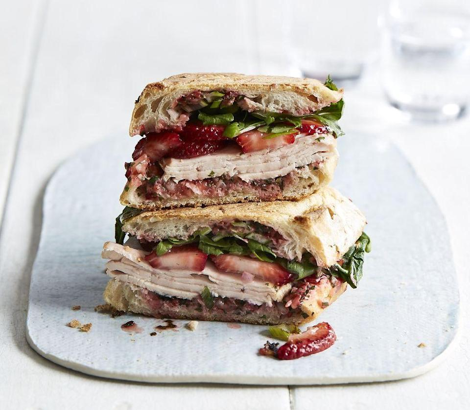 """<p>Strawberries blended with basil, Parmesan, oil, lemon juice and garlic makes a sweet-savory spread for sandwiches.</p><p><em><a href=""""https://www.prevention.com/food-nutrition/recipes/a22037883/turkey-panini-strawberry-pesto/"""" rel=""""nofollow noopener"""" target=""""_blank"""" data-ylk=""""slk:Get the recipe from Prevention »"""" class=""""link rapid-noclick-resp"""">Get the recipe from Prevention »</a></em></p>"""