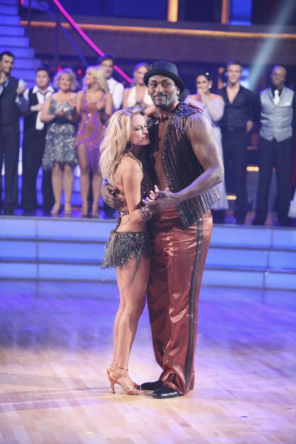<p>NBA star Metta World Peace's cha-cha performance during season 13 was lackluster, at best. There were awkward limbs, stiff steps, you name it. He and his partner, Peta Murgatroyd, were the first to be eliminated. </p>