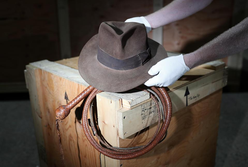 The fedora and bullwhip used by Harrison Ford in Raiders Of The Lost Ark and Indiana Jones And The Temple Of Doom respectively, are to go on sale (Andrew Matthews/PA Wire)