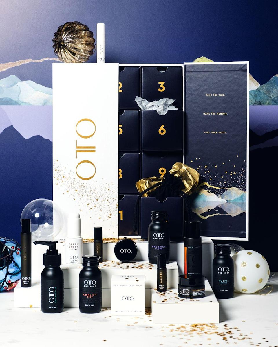 """<p>Brit brand OTO has played a considerable part in catapulting CBD into the mainstream by making a convincing case for its soothing and skin-enriching properties. This 14-day advent calendar offers a fortnight of mindful moments, including CBD-infused sleep drops, a pillow mist, face mask and a rather mysterious secret gift. All are vegan and cruelty-free. £329, <a href=""""https://otocbd.com/oto-advent-calendar.html"""" rel=""""nofollow noopener"""" target=""""_blank"""" data-ylk=""""slk:otocbd.com"""" class=""""link rapid-noclick-resp"""">otocbd.com</a></p>"""