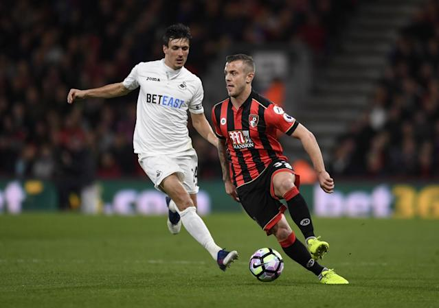 <p>Bournemouth's Jack Wilshere in action with Swansea City's Jack Cork </p>
