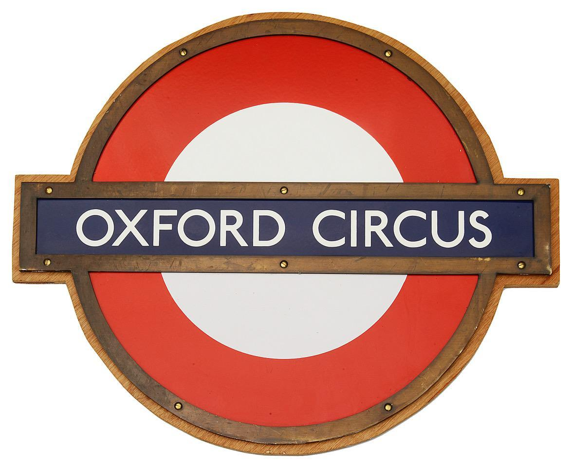 A London Underground Oxford Circus enamel 'bullseye' roundel sign is tipped to sell for between £1,000 and £1,500 (Catherine Southon Auctioneers & Valuers/PA)