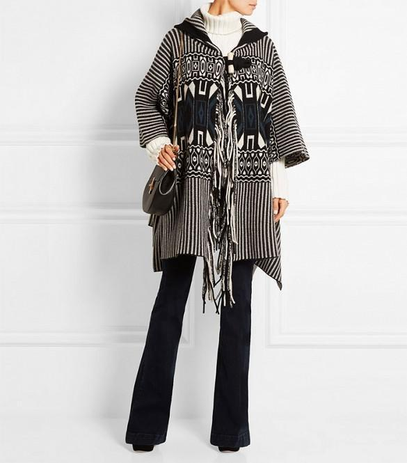 Chloé Wool and Cashmere Jacquard Cape