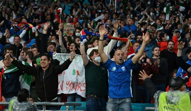 Italy supporters in the crowd at Wembley