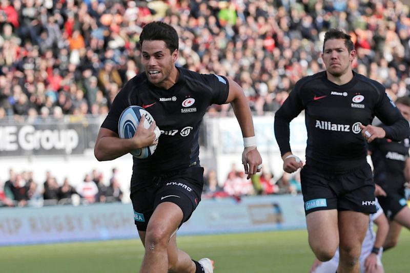 Bonus-point win: Maitland crosses the whitewash for Saracens' fifth try of the afternoon: Getty Images
