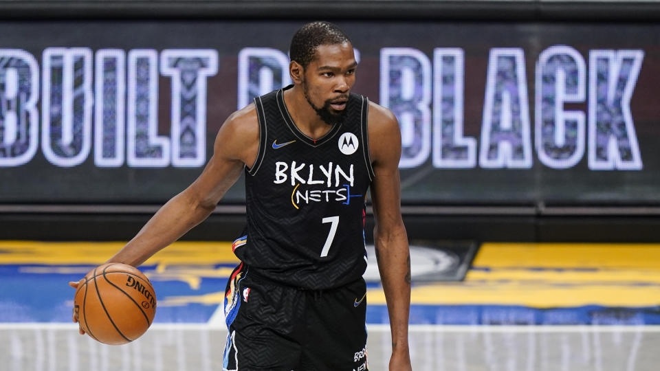 Brooklyn Nets' Kevin Durant during the second half of an NBA basketball game against the Toronto Raptors.