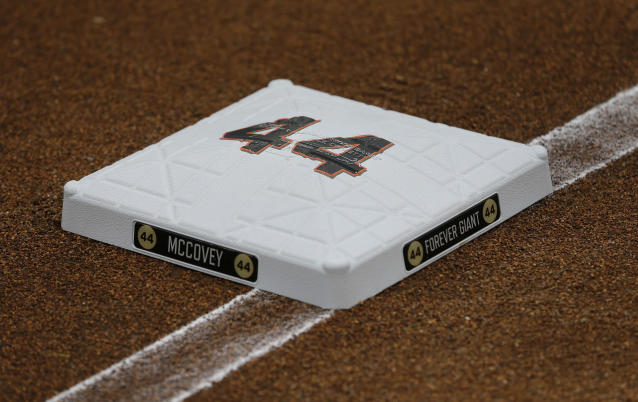 No. 44 adorns first base in tribute to Hall of Famer Willie McCovey before an opening day baseball game between the San Francisco Giants and the Tampa Bay Rays, Friday, April 5, 2019, in San Francisco. McCovey passed away in October and was honored in pregame ceremonies. (AP Photo/Eric Risberg)