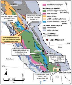 Regional location of the Eagle Mountain Gold Project BC in relation to significant orogenic gold camps. Modified from Allan, M.M., Rhys, D.A. and Hart, C.J.R., 2017, Orogenic gold mineralization of the eastern Cordilleran gold belt, British Columbia: Structural ore controls in the Cariboo (093A/H), Cassiar (104P) and Sheep Creek (082F) mining districts: Geoscience BC Report 2017-15, 108 p.