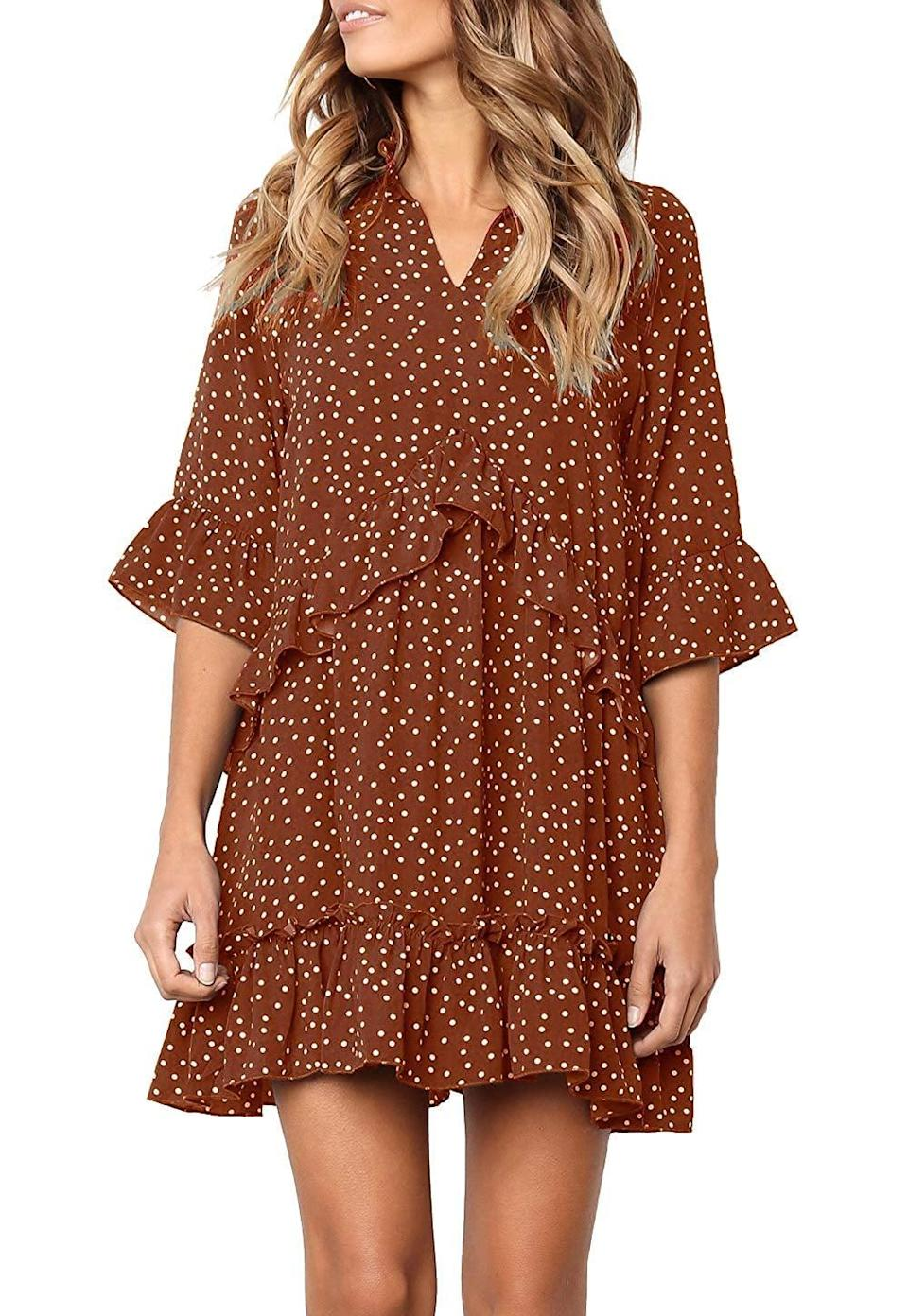 <p>We love the silhouette of this <span>Mitilly Polka-Dot Pocket Casual Dress</span> ($25).</p>