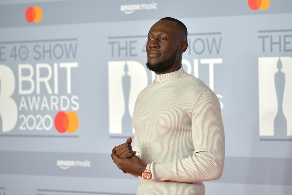 LONDON, ENGLAND - FEBRUARY 18: (EDITORIAL USE ONLY)  Stormzy attends The BRIT Awards 2020 at The O2 Arena on February 18, 2020 in London, England. (Photo by Jim Dyson/Redferns)