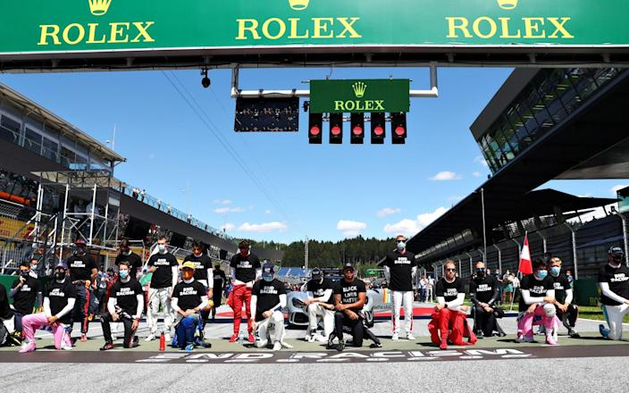 Lewis Hamilton and 13 other F1 drivers take a knee ahead of Austrian Grand Prix - Getty Images