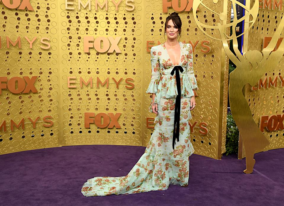 Lena Headey is fit for a queen, with a bold bow front and center. (Photo: FilmMagic)
