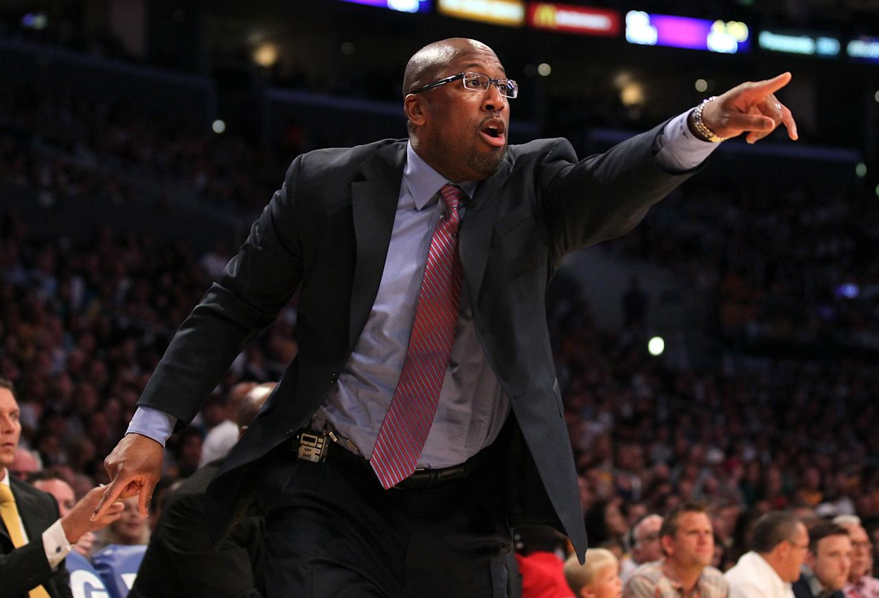 LOS ANGELES, CA - APRIL 22:  Head coach Mike Brown of the Los Angeles Lakers reacts to an officials call durin gthe game with the Oklahoma City Thunder at Staples Center on April 22, 2012 in Los Angeles, California.  NOTE TO USER: User expressly acknowledges and agrees that, by downloading and or using this photograph, User is consenting to the terms and conditions of the Getty Images License Agreement.  (Photo by Stephen Dunn/Getty Images)