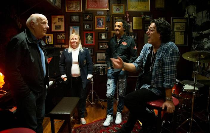 Owner Gerardo Cea (second from right) jangs out with Grammy award-winning songwriter and producer Rudy Prez (far right), his wife Betsy and Hall of Fame songwriter Charles Fox in Cea's private studio inside Cafe Prima Pasta.