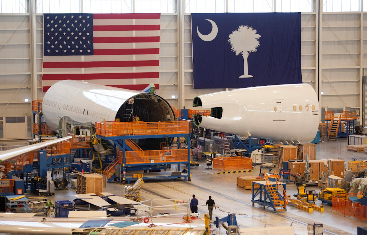 FILE PHOTO: Sections of a 787 Dreamliner being built for Air India are seen at Boeing's final assembly building in North Charleston, South Carolina, U.S. December 19, 2013.  REUTERS/Randall Hill/File Photo